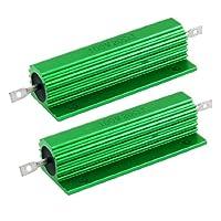 uxcell アルミニウム覆われ ワイヤウーンド抵抗器 ネジタブ 100W 20オーム 2個入り グリーン 5%