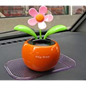 【Liroyal】ソーラーフラワー 左右揺らる花 太陽エネルギー充電 車内飾りダンシングフラワー (オレンジ)