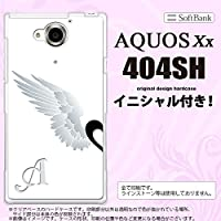 404SH スマホケース AQUOS Xx カバー アクオス ダブルエックス イニシャル 翼(ペア) 白(左) nk-404sh-788ini F