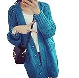 (ヒンリヤ)HengLiYa 可愛いアウターレディース ロングカーディガン ジャケット ニット ざっくりニット ケーブルニット ボタン(ブルー)