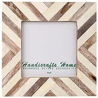 Picture Frames Photo Frame Chevron Herringbone Vintage Wooden Handmade Naturals Bone Classic Size 4x4 Inch (Brown) [並行輸入品]