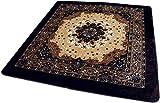 ホットカーペットカバー王朝柄「ミラノ」ブラウン色200x300cm(長3畳用) 【床暖対応、ウレタン入、不織布貼】