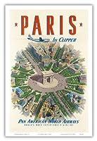 クリッパーパリ - 凱旋フランスの凱旋門 - パンアメリカン航空 - ビンテージな航空会社のポスター c.1951 - アートポスター - 31cm x 46cm