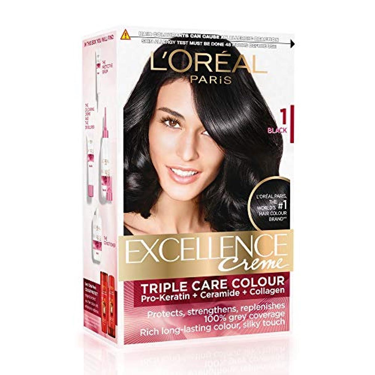 女将外出ボリュームL'Oreal Paris Excellence Creme Hair Color, 1 Black, 72ml+100g
