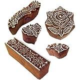 ファンシー パターン フローラル そして ボーダー 木製印刷ブロック (のセット 5)