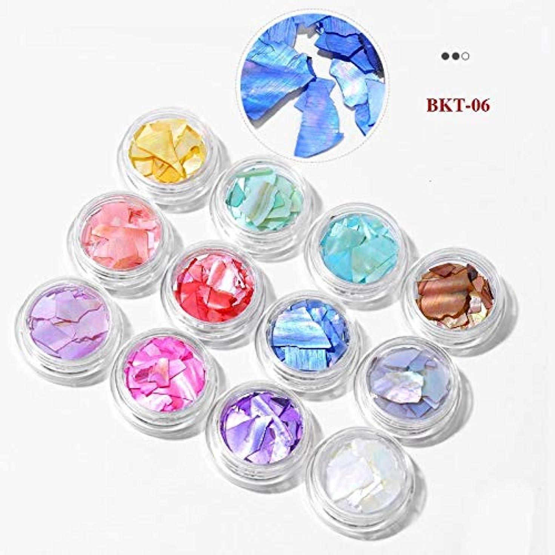 豊かな使用法マイコンKerwinner 3Dネイルアートクラッシュシェル貝殻セットDIYオーシャンピーススパンコールネイルマニキュアインテリアチャームアクセサリーアクセサリーサプライ (Color : 06)
