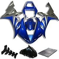 9FastMoto yamaha ヤマハ 2002 2003 YZF-1000 R1 02 03 YZF 1000 R1 用フェアリング オートバイフェアリングキット ABS 射出成形セット スポーツバイク カウル パネル (ブルー & シルバー) Y0808