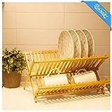 (ハンキ)Hankey ディッシュラック 水切り皿立て 42x32x26cm 天然竹製 折りたたみ式食器棚 キッチン収納 DR01