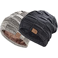REDESS Beanie Hat For Men and Women Winter Warm Hats Knit Slouchy Thick Skull Cap Variegated Mix- Black Brown Pack Of 2 by
