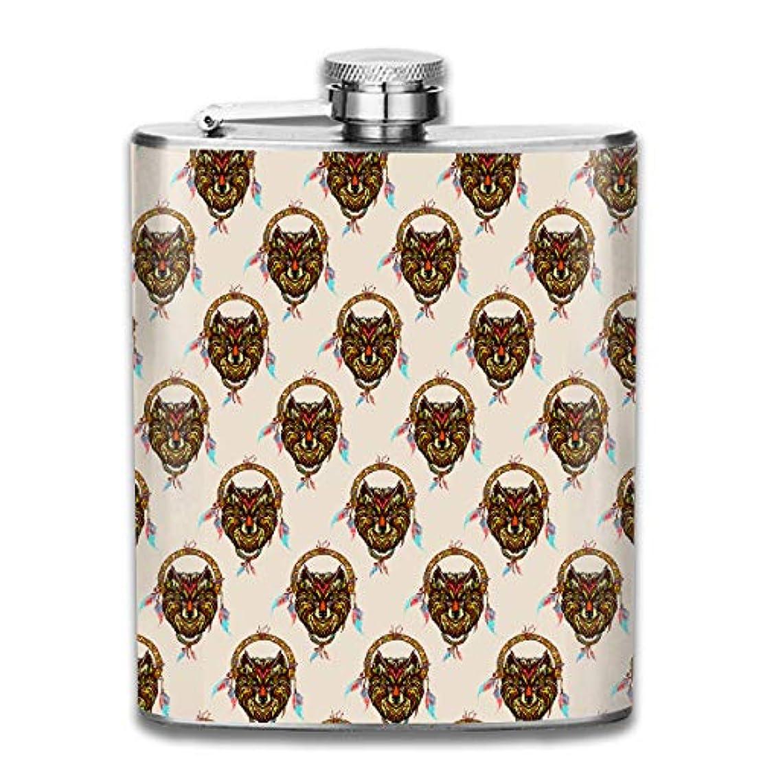 彼はリースお誕生日狼の面 フラスコ スキットル ヒップフラスコ 7オンス 206ml 高品質ステンレス製 ウイスキー アルコール 清酒 携帯 ボトル
