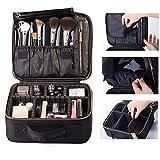 ROWNYEON Makeup Travel Bag Professional Cosmetic Makeup Organizer Case Makeup Train Case Makeup Artist Bag Portable Cosmetic Bag Gift for Women with EVA Adjustable Dividers Small Black