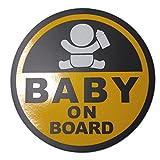 BABY ON BOARD 赤ちゃん 乗車中 ( 16cm マグネット ステッカーイエロー )