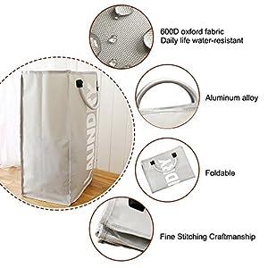 Decdeal 折り畳み式洗濯バッグ ランドリーバスケット 耐久性 収納袋(合金ハンドル付き)