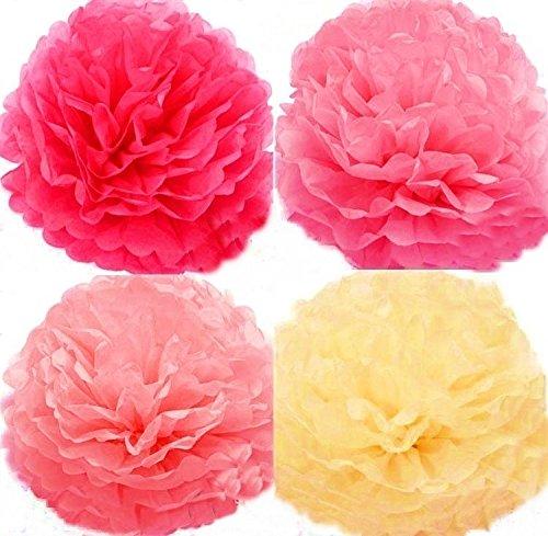 (ジンセルフ) JINSELF いろどる魅了花 大量12枚 和紙 高品質 ペーパーフラワー ポンポン 紙花風船 バルーン フラワー 飾り付け 誕生日 結婚式 JIN SELF