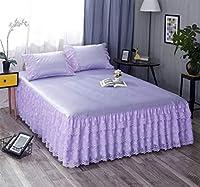 エレガントなレースのアイスシルクのマットのベッドスカートスリーピースの夏のダブルエアコンの座席枕カバーのレースのシーツで洗える (Color : Glamour purple, Size : 150x200cm)
