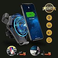 ワイヤレスカーチャージャー 高速充電カーマウント iPhone X/8/8 Plus用 エアベントとダッシュボード用車載電話充電器 Samsung Galaxy S8/S8 Plus/S7/S7 Edge/S6 Edge Plus/Note 8/5 Qi対応デバイス用