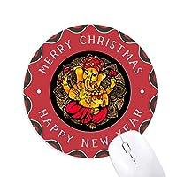 仏教の宗教は仏教の象 円形滑りゴムのクリスマスマウスパッド