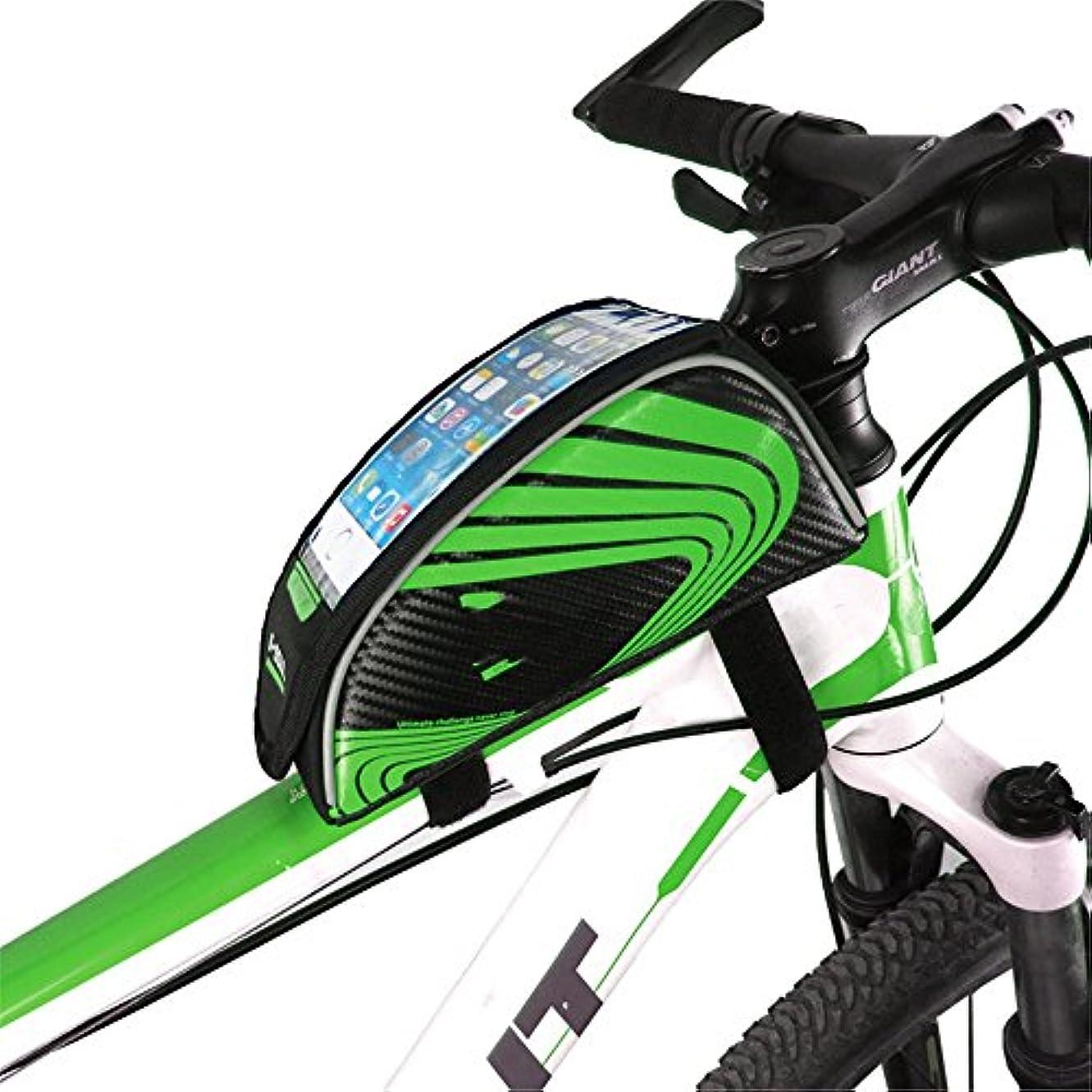 胸トリプルシェア自転車フレームバッグ アクセサリーシートポストバッグテールリアポーチバッグ自転車バッグ自転車サドルバッグ防雨MTBロードバイク 防水電話ホルダー (色 : 緑)
