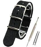 【 気分に合わせて簡単交換 】 ( ブラック 16mm ) NATO タイプ ナイロン ベルト ストラップ 腕時計 2PiS 【 バネ棒外し&バネ棒2本&交換マニュアル付 】