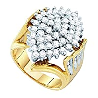 2.00カラットCTW) 10KイエローゴールドラウンドホワイトダイヤモンドレディースRight Handクラスタリング2CT