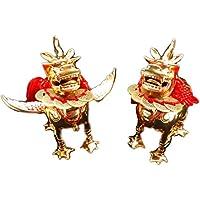 風水 銅製 金彩 雌雄 貔貅 ヒキュウ 一対