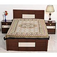 Sarjana Handicrafts Indianツインサイズコットンボックスベッドシートフローラルプリントベッドスプレッド寝具 approx. 84 Inches (213 cm) X 54 Inches (137 cm) ブラック