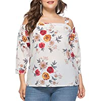 MONICAR Women's Plus Size Sling Flower Print Long Sleeved Tops Summer T-Shirt 1X-6X