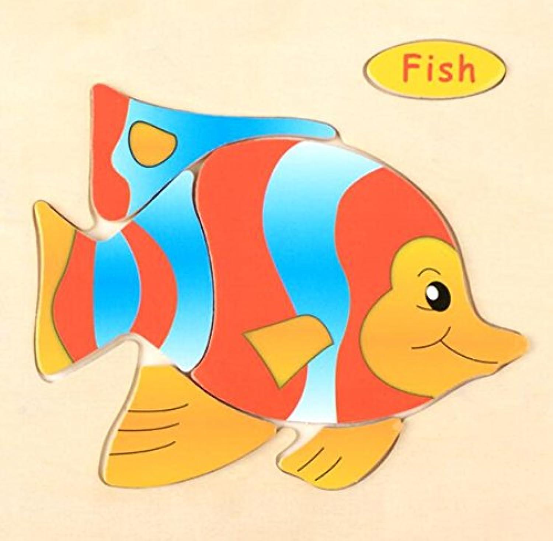 HuaQingPiJu-JP 子供のための木製の就学前の魚の認知ボード教育パズル