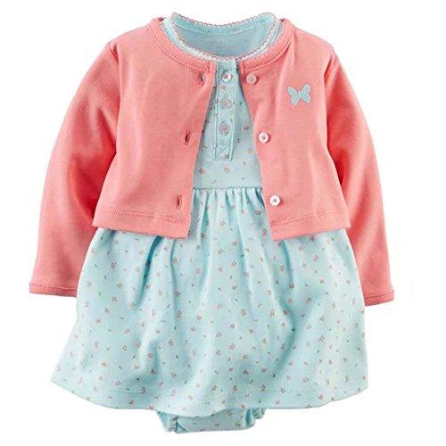 [해외]카 타즈 Carter `s 가디건 반소매 롬퍼 스 원피스 2 종 세트 하늘색 나비 아기 옷 여자 [병행 수입품]/Carters` Cardigan Short Sleeve Romper Dress 2 Piece Light Blue Butterfly Baby Clothes Girl [Parallel import goods]