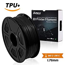 SUNLU Black TPU 3D Printer Filament 1.75mm Reference Specs:  Diameter: 1.75MM  Tolerance Level: ±0.03MM  Print Temperature: 230-260°C / (446-550°F)  Print Speed: 50-100mm/s  Base Plate Temperature: No Heat Required/50-80°C  Bubble: 100% Zero Bubbles ...