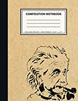 College Ruled Composition Notebook: Einstein Brown Paper Soft Cover | Large (8.5 x 11 inches) Letter Size | 100 Lined Pages | Ruled Retro Notes (No Margins)