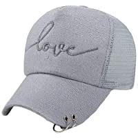 Love Print Baseball Cap Adjustable Solid Color Mesh Snapback Hip Hop Flat Hat (Color : Grey)