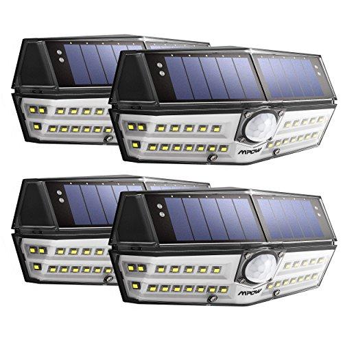 Mpow センサーライト ソーラーライト 30LED 防犯ライト 屋外ライト 玄関ライト 人感センサーライト ガーデンライト 2018年新作 IPX6防水 変換率最大23% 広角照明 検知距離8メートル センサー時間30s 太陽発電 省エネ 壁掛け式 屋外照明 防犯用 4点セット