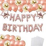 誕生日 飾り付け バルーン HAPPY BIRTHDAY 風船 セット バースデー デコレーション シャンパンカラー紙吹雪入れ バルーン パーティー お祝い 装飾(壁貼り両面シール)J038