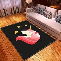 ブロック 絨毯 格安 ラグマットカーペット 6畳 グリーン 120X180CM ユニコーン馬の敷物寝室ダイニングルームマットリビングルームポリエステル機械織り長正方形