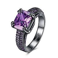 Rockyu ブランド 人気 指輪 18 メンズ レディース ファッション リング ステンレス ブラック 紫 アメシスト