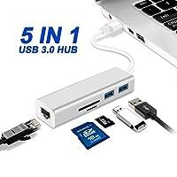 USBハブUSB EthernetアダプタUSB toイーサネットUSB 3.010/ 100/ 1000ネットワークrj45LANアダプタfor Windows 7,8,10、Mac OS X [シルバー]
