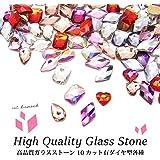 高品質ガラスストーン 10 カット有ダイヤ型 各種 5個入り (2.クリスタルAB)