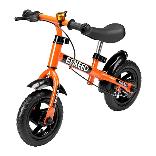 enkeeo ペダルなし自転車 バランス感覚養成 軽量 コンパクト ハンドルとサドルの高さ調整可 2歳~6歳子供用 1004【メーカー保証】(ブレーキ付き, オレンジ)