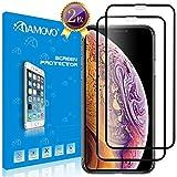【全面密着】AMOVO iPhone XS Max フィルム 日本旭硝子素材 ケースに対応 アイフォン 2018 ガラスフィルム Face IDと3D touchに対応 自己吸着 9H 0.25mm 極薄 指紋防止 (インチ, 黒い2枚)