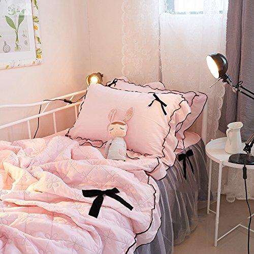 綿花世界  姫系寝具カバーセット 可愛リボン 綿100%   スイートローズレース ピンク掛け布団カバー ピーロケース ベッドスカート プリンセス になる ロマンティック デザイン   シングル