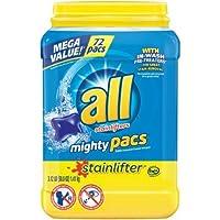 すべてMighty Pacsランドリー洗剤、Stainlifter、浴槽、72カウント–1パック