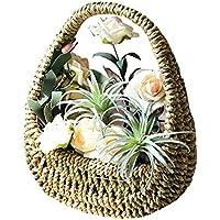 LEKING 編み鉢カゴ 収納バスケット かご 籐風 植物花鉢 ストロー手編み 生け花 和風 天然素材 業務用 結婚祝い 園芸花鉢 ホーム壁装飾