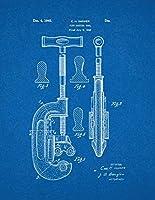 """パイプカットツール特許印刷アートポスター青写真 8.5"""" x 11"""" 10710-53-8"""