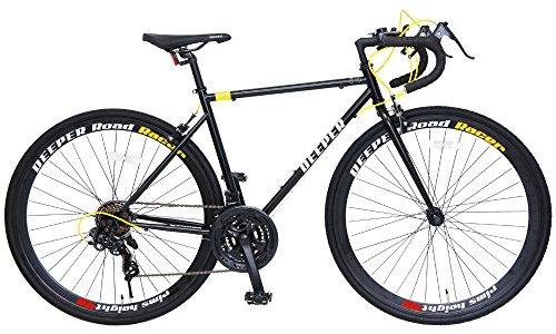 DEEPER(ディーパー) 700×28C ロードバイク 480mm シマノ21段変速 LEDライト装備 DE-3048 ブラック×イエロー