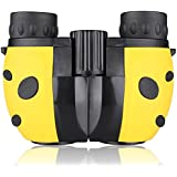 Kids Binoculars Compact Mini Binoculars for Children, Rubber 8x22 Adjustable Lightweight Binoculars Telescope Toy, Children Educational Toys for Bird Watching, Outdoors, Climbing, ManKn Boshile Series (Yellow)