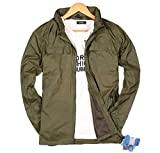 メンズ アウトドア 長袖 ジャケット ウィンドブレーカー 風 ジップアップパーカー ナイロンジャケット (L, カーキ)