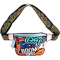 Monique Women Graffiti Print Fanny Pack Raves Disco Dancing Waist Bag Bumbag Chest Backpack Satchel 2854 Blue