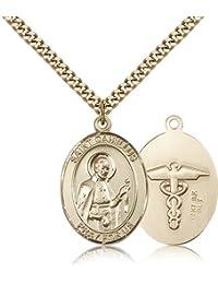 聖カミロ?デ?レリス/看護婦Medals – ゴールドメッキ聖カミロ?デ?レリスペンダントIncluding 24インチネックレス