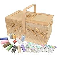おまけ付 倉敷意匠 ならのソーイングボックス 常備糸12色とまち針55本プレゼント 木製